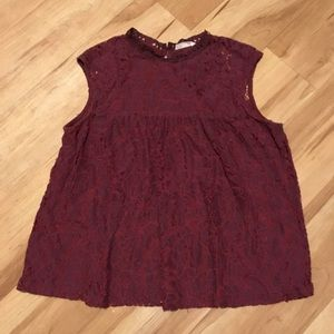Burgundy, Lacey, High Neck Sleeveless Top